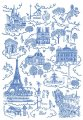 Dish Towel - Paris Toile (Blue)Design w/Landmarks Made in France