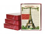 "Christmas Cards- ""Joyeux Noel"" - Eiffel Tower Design w/Newsprint"