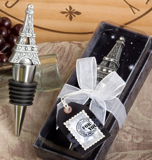 Bottle Stopper - Detailed Eiffel Tower with Rhinestones - Click Image to Close