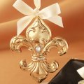 Ornament - Fleur de Lis - Gold with Crystals - Beautiful!