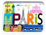 "Tray - ""Paris"" Colorful Design - Melamine,by Fox Trot 8"" x 11"""