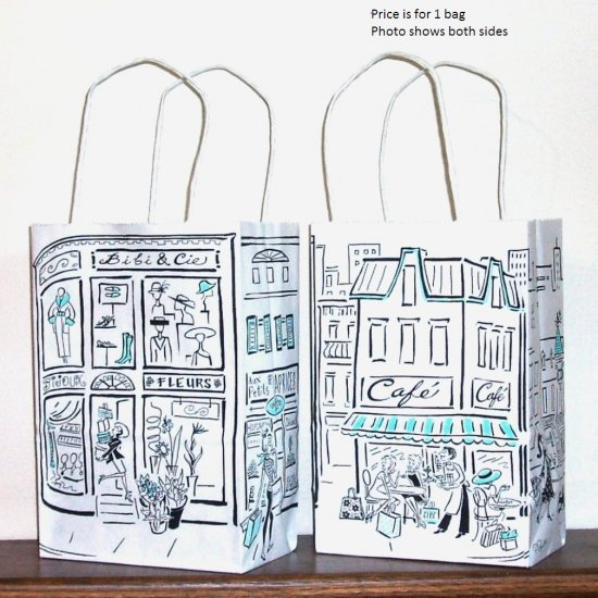 ~Gift Bag - Small, Paper - Parisian Street Scenes - Click Image to Close