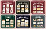 Coasters-Set of 6,Assorted Labels French Wine Region,Cork Back