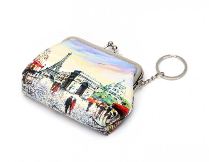 Coin Purse w/Key Ring - Paris Street Scene w/Eiffel Tower & More - Click Image to Close