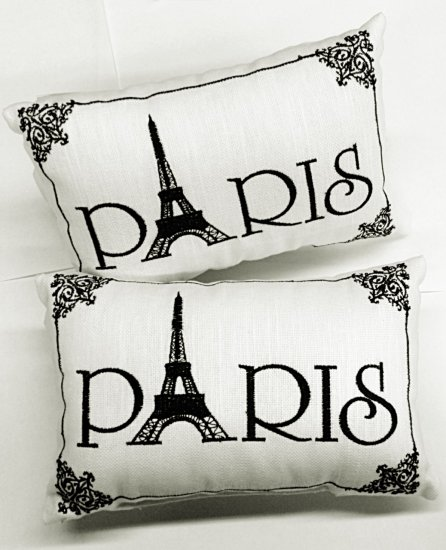 "Pillows - ""Paris"" -2 Embroidered Accent Pillows - Ornate Detail - Click Image to Close"