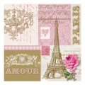 "Napkin/Beverage - ""Je t'aime Paris"" w/Eiffel Tower - Gold/Pink"