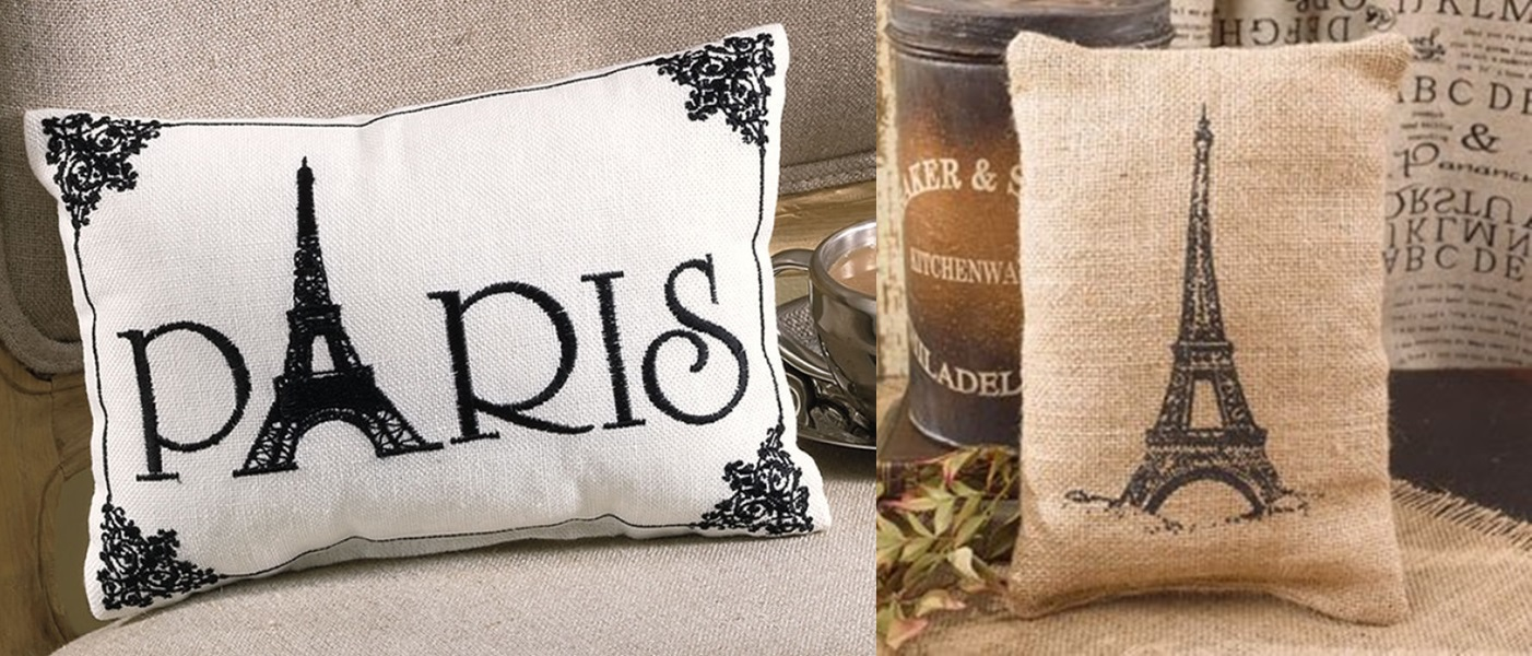 "Pillows: Set of 2 Accent: White ""Paris""; Burlap w/ Eiffel Tower"